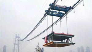 Jembatan Gantung Ganda Terpanjang di Dunia Dikebut