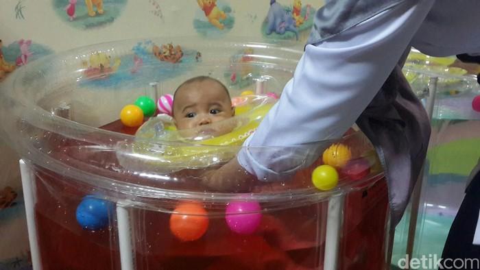 Kayu secang memiliki sifat antibakteri dan antiradang sehingga baik untuk melawan reaksi inflamasi stres. Bayi ini contohnya melakukan terapi air secang agar tidak rewel bisa tidur lebih nyenyak. (Foto: dok. detikcom)