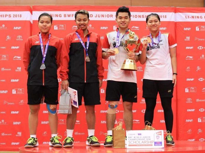 Leo/Indah juara di nomor ganda campuran Kejuaraan Dunia Bulutangkis Junior 2018. (Foto: Tim Humas dan Media PP PBSI)