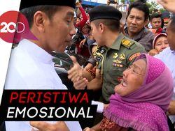 Penuh Haru! Seorang Nenek Menangis di Pelukan Jokowi