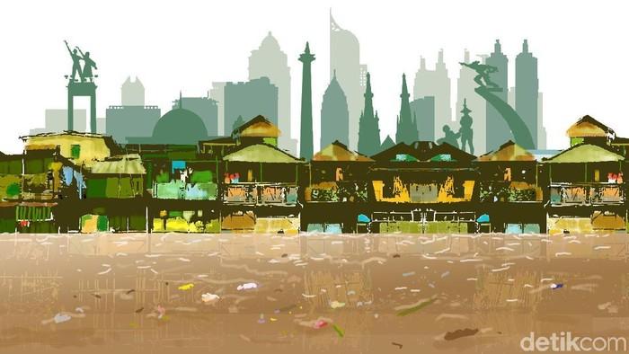 kota Jakarta Tergenang Banjir