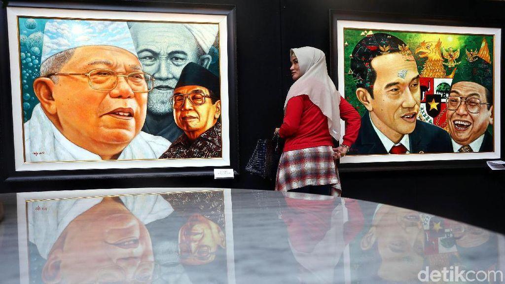 Ada Wajah Jokowi-Maruf di Lukisan Gus Dur