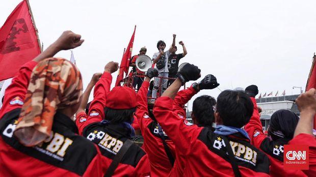 Salah satu aksi demo serikat buuruh, Konfederasi Persatuan Buruh Indonesia (KPBI) Jakarta, dengan tuntutannya, salah satunya, adalah menghapus outsourcing.