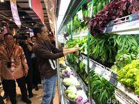 Jokowi melihat-lihat sayuran.