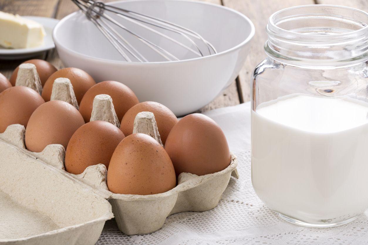 Ingredients for making omelette (eggs, milk, butter)