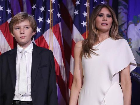 HOLLYWOOD, CA - JANIUARY 16:  Donald Trump (L) , wife Melania (C) and son Baron attend the ceremony honoring him with a star on the Hollywood Walk of Fame on January 16, 2006 in Hollywood, California. (Photo by Vince Bucci/Getty Images)