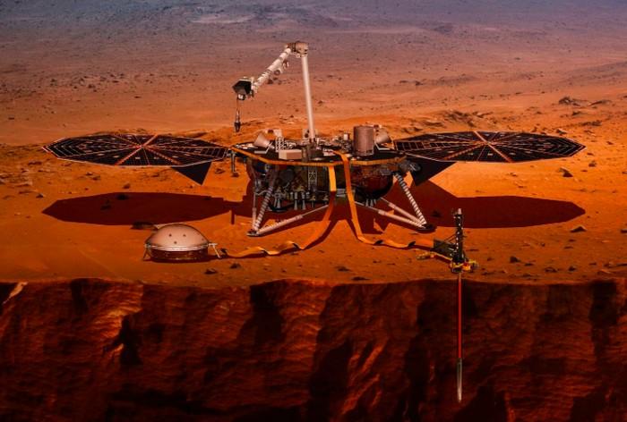 Ilustrasi robot InSight mendarat di Mars. Foto: NASA