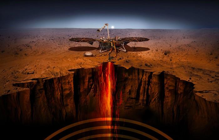 Ilustrasi aktivitas robot Insight. Foto: NASA