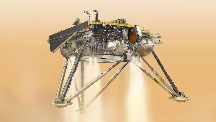Ilustrasi InSight mendarat di Mars. Foto: BBC Magazine
