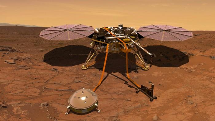 Ilustrasi robot InSight di Mars. Foto: NASA