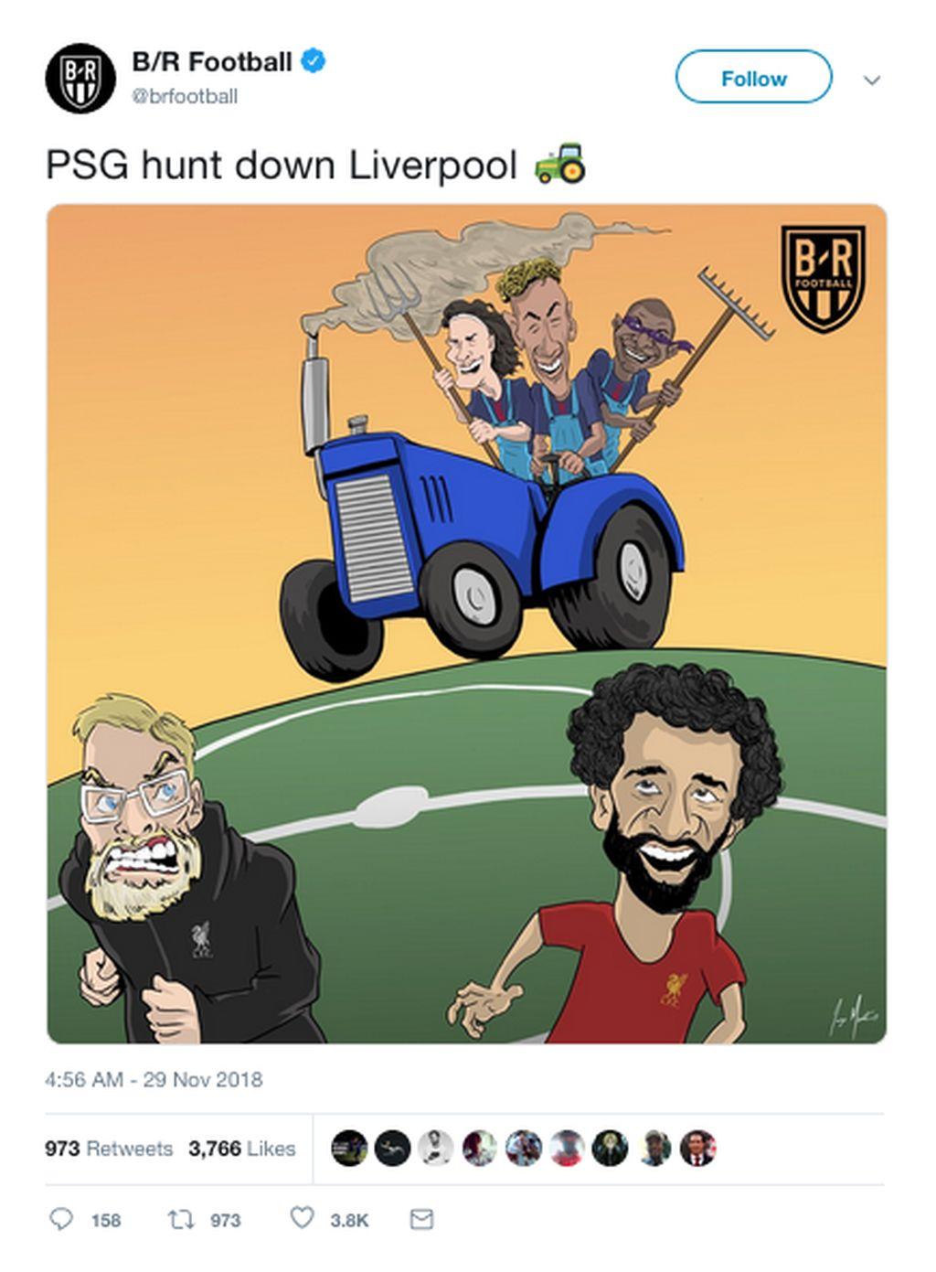 Liverpool kalah 1-2 di markas PSG. Hasil itu membuat The Reds kini menempati posisi ketiga grup dan terancam tergusur dari Liga Champions. (Foto: Internet/Twitter)