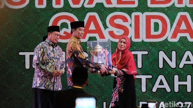 Presiden Joko Widodo (Jokowi) menutup festival bintang vokalis qasidah tingkat nasional tahun 2018