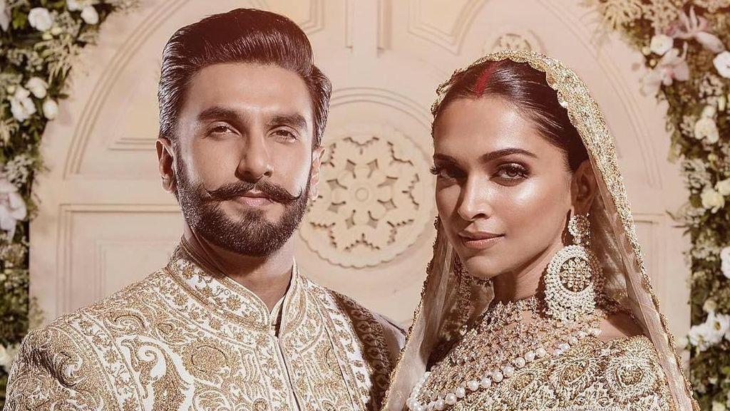 Gelar Pesta Pernikahan Kedua, Deepika Padukone Mewah Bergaun Putih-Emas