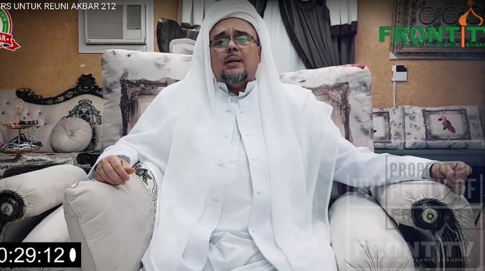Foto: Seruan Habib Rizieq Jelang Reuni 212 (Youtube Front TV)