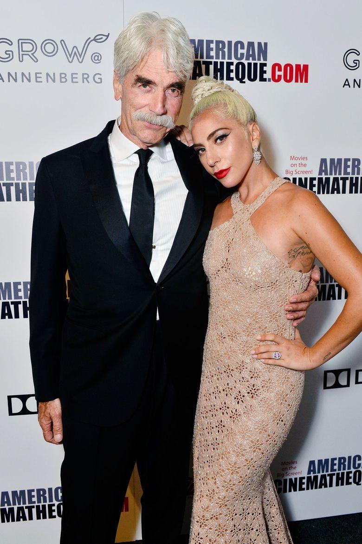 Lady Gaga dan Sam Elliot hadir di acara Chinematique Awards di California, AS pada Kamis (29/11) lalu. Jerod Harris/Getty Images for American Cinematheque