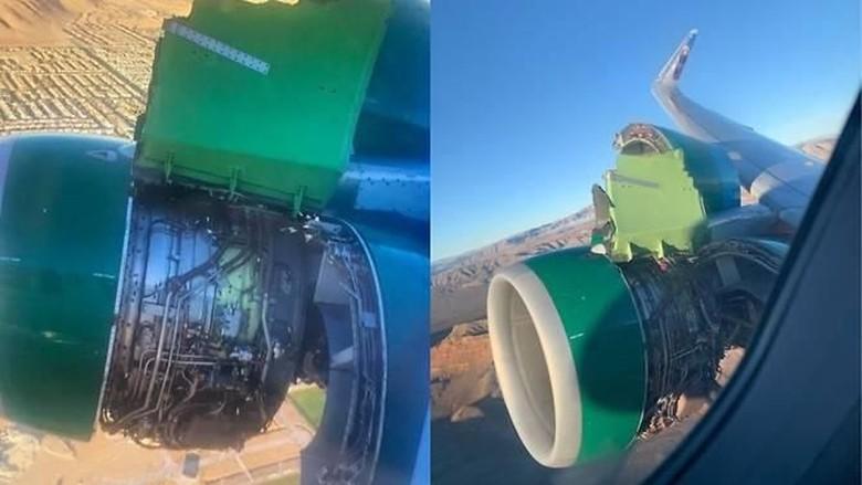 Foto: Momen ketika mesin pesawat rontok (CJ Gunnerson/Twitter)