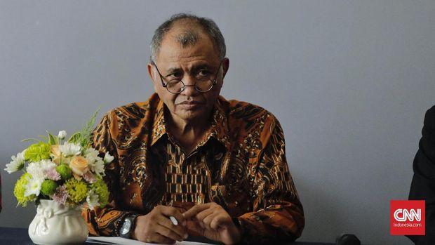 Ketua KPK Agus Rahardjo saat peringatan Hari Anti Korupsi Sedunia (Hakordia) 2018 di Hotel Bidakara, Jakarta Selatan, Selasa (4/12).