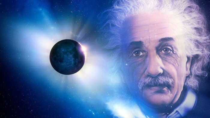 Ilustrasi foto Einstein dan gerhana total matahari. (Science Photo Library)
