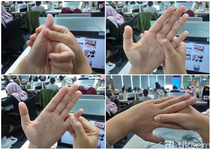 Kalau kamu terserang flu di musim hujan gini, ada baiknya untuk melakukan pijatan refleksiologi di tangan. Simpel kok caranya. Foto: Khadijah Nur Azizah/detikHealth