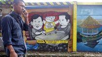 Mural Jokowi Prabowo Ngopi Bareng di Depok