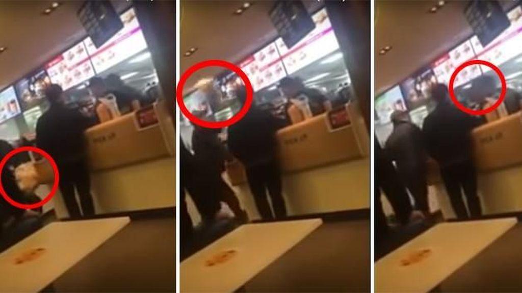 Pria Lempar Makanan ke Wajah Pelayan hingga Anjing Makan Mie yang Keluar dari Lehernya