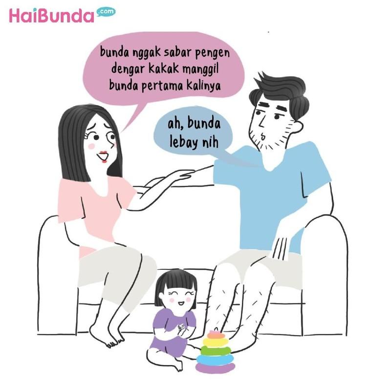 Begini perasaan Bunda di komik ini saat dengar kata pertama yang diucapkan anak. Kata pertama si kecil apa, Bun, dan gimana perasaan Bunda saat mendengarnya?
