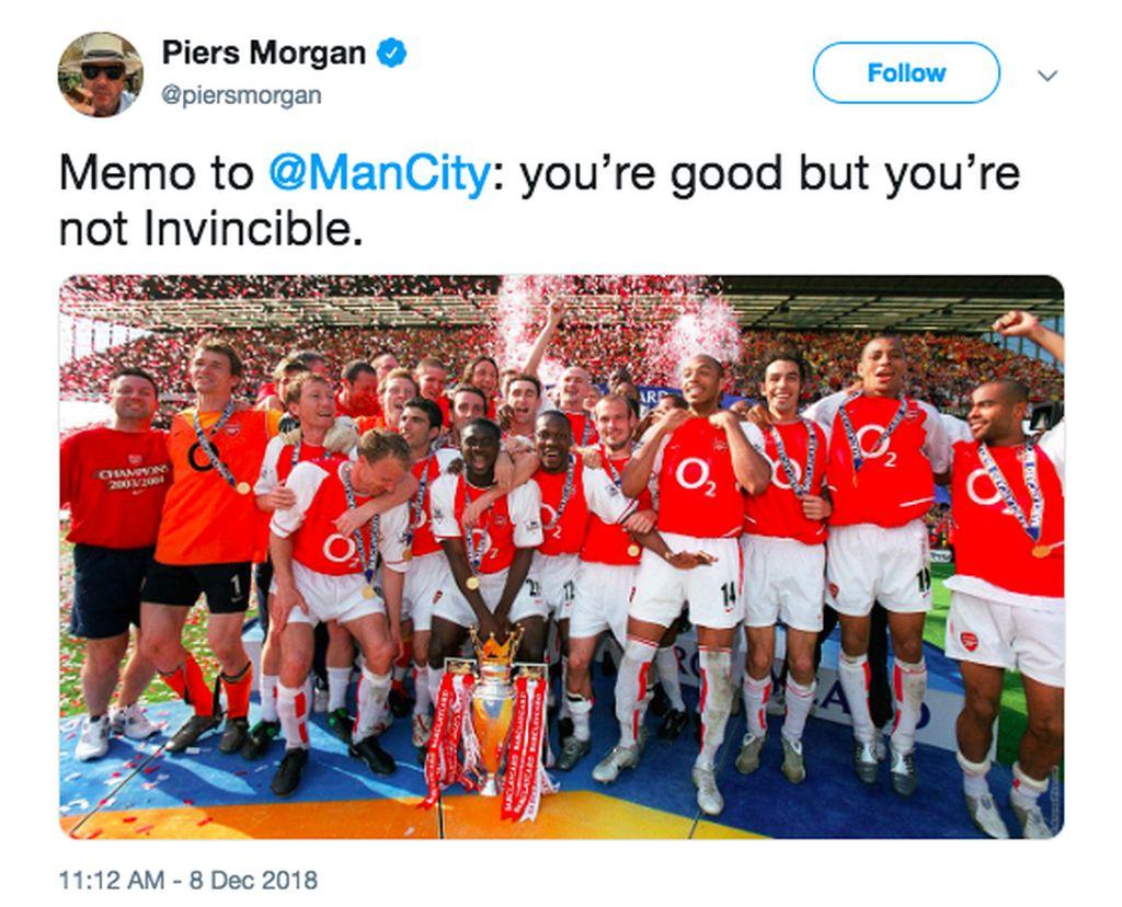 Memo buat City: Kalian memang bagus tapi tak terkalahkan. Foto: Twitter