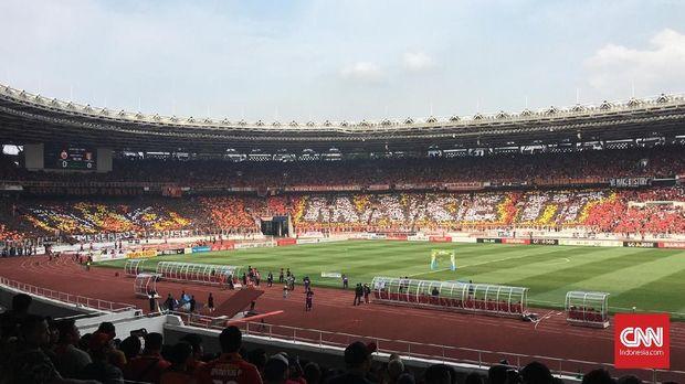 Persija unggul 1-0 atas Mitra Kukar di SUGBK. (