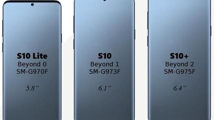 Ada bocoran bahwa jumlah kamera belakang pada trio Galaxy S10 masih kalah banyak dibandingkan Galaxy A9. (Foto ilustrasi tiga model Galaxy S10: istimewa)