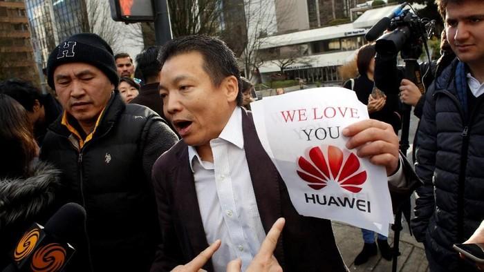 Dukungan terhadap Huawei. Foto: REUTERS/David Ryder