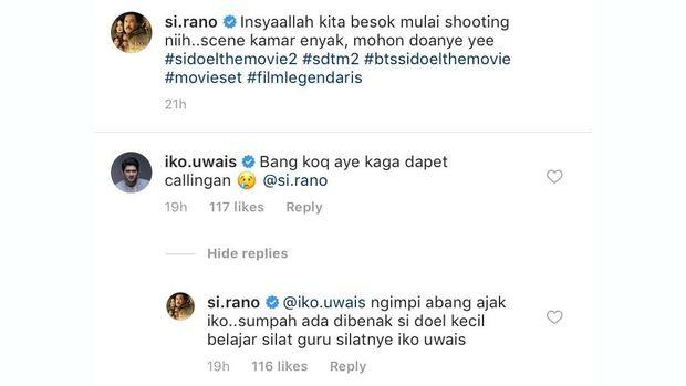 Balas komentar Iko Uwais dan Rano Karno.