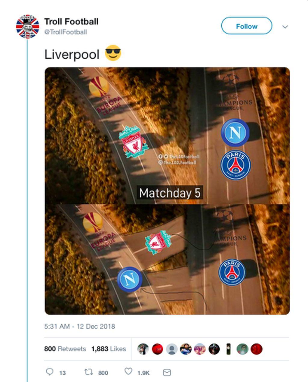 Liverpool, yang sempat berada di ujung tanduk, mampu memastikan lolos dari fase grup Liga Champions berkat kemenanangan 1-0 atas Napoli di matchday terakhir. (Foto: Internet/Twitter)