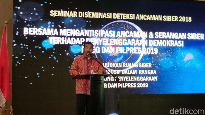 Kepala BSSN Djoko Setiadi mengungkap jumlah serangan siber ke Indonesia pada 10 bulan awal tahun 2018 (Foto: Agus Tri Haryanto/detikINET)