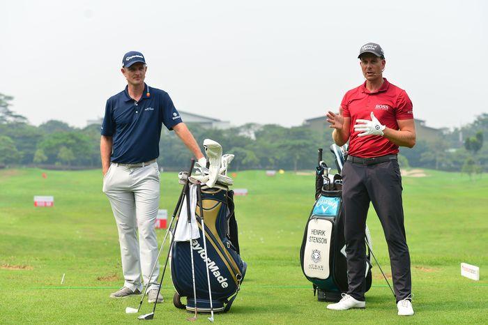 Bintang asal Swedia Henrik Stenson (kanan) merupakan pemain top terkini yang memastikan akan bertarung di Indonesian Masters tahun ini bersama dengan bintang Inggris Justin Rose (kiri). Pool/Images Dynamic.