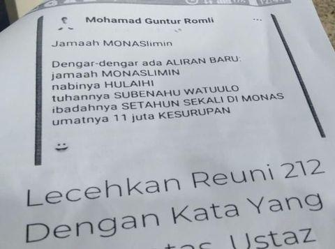 Barang bukti berupa print out screenshot status FB Guntur Romli ke polisi