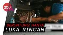 Terjatuh, Lansia Tersangkut di Bawah Truk Tronton