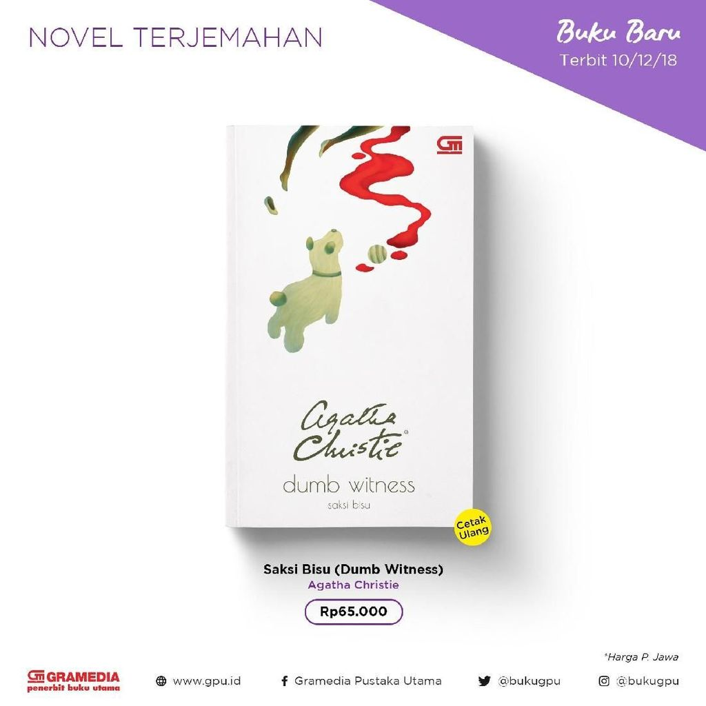 Novel Dumb Witness Agatha Christie Terbit di Indonesia