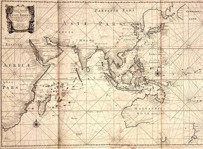 Jalur Perdagangan VOC sekitar 1700 (Wikimedia Commons)