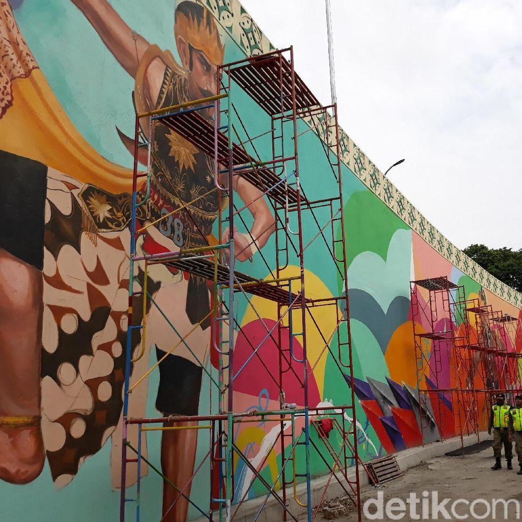 Ini Dia Mural Klasik Futuristik Pembungkus Flyover Manahan Solo