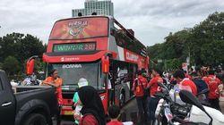 The Jakmania Mulai Bergerak Ikuti Pawai Juara Persija Jakarta