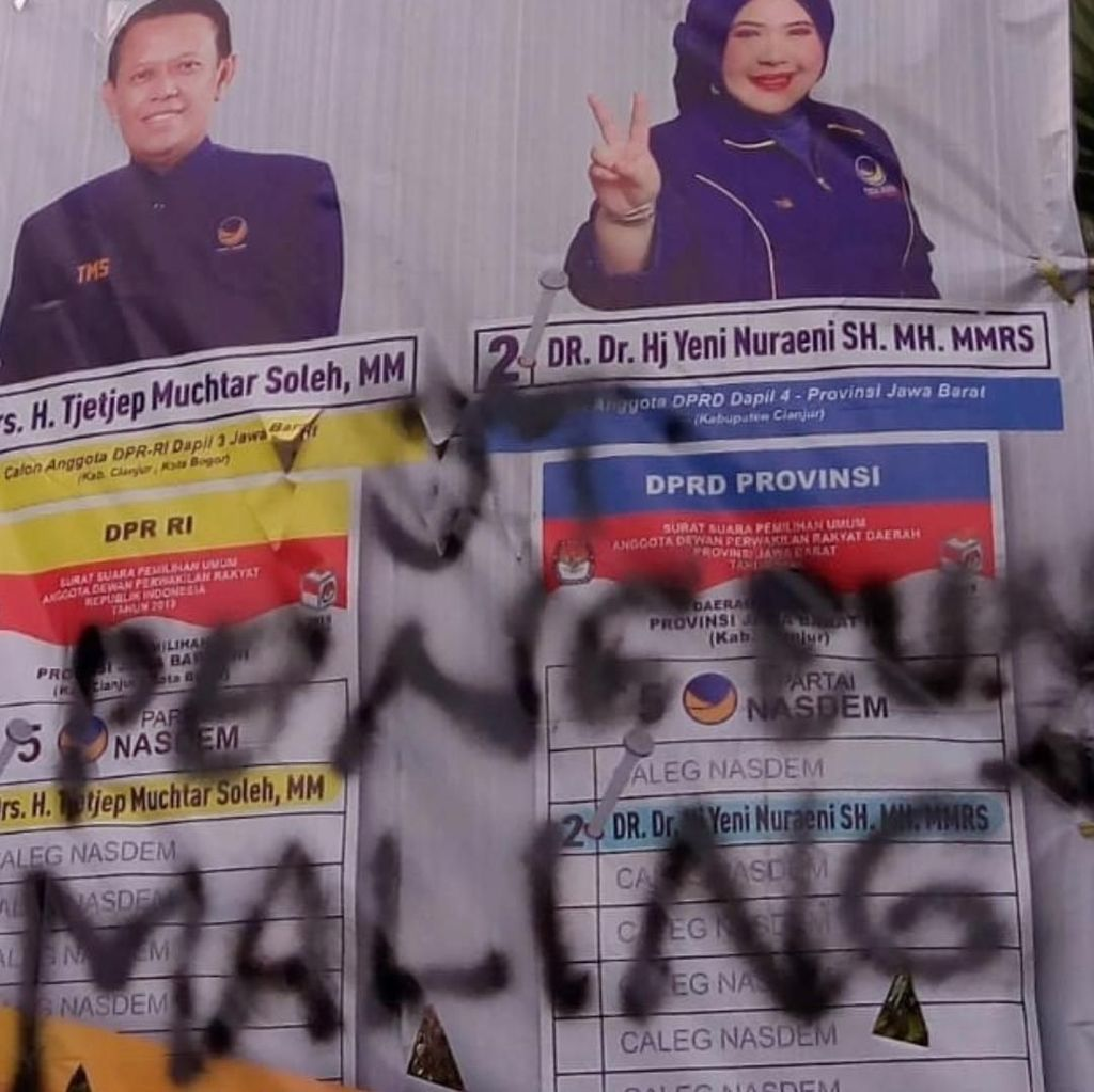 Puluhan APK Dirusak, NasDem Cianjur Siap Lapor ke Bawaslu