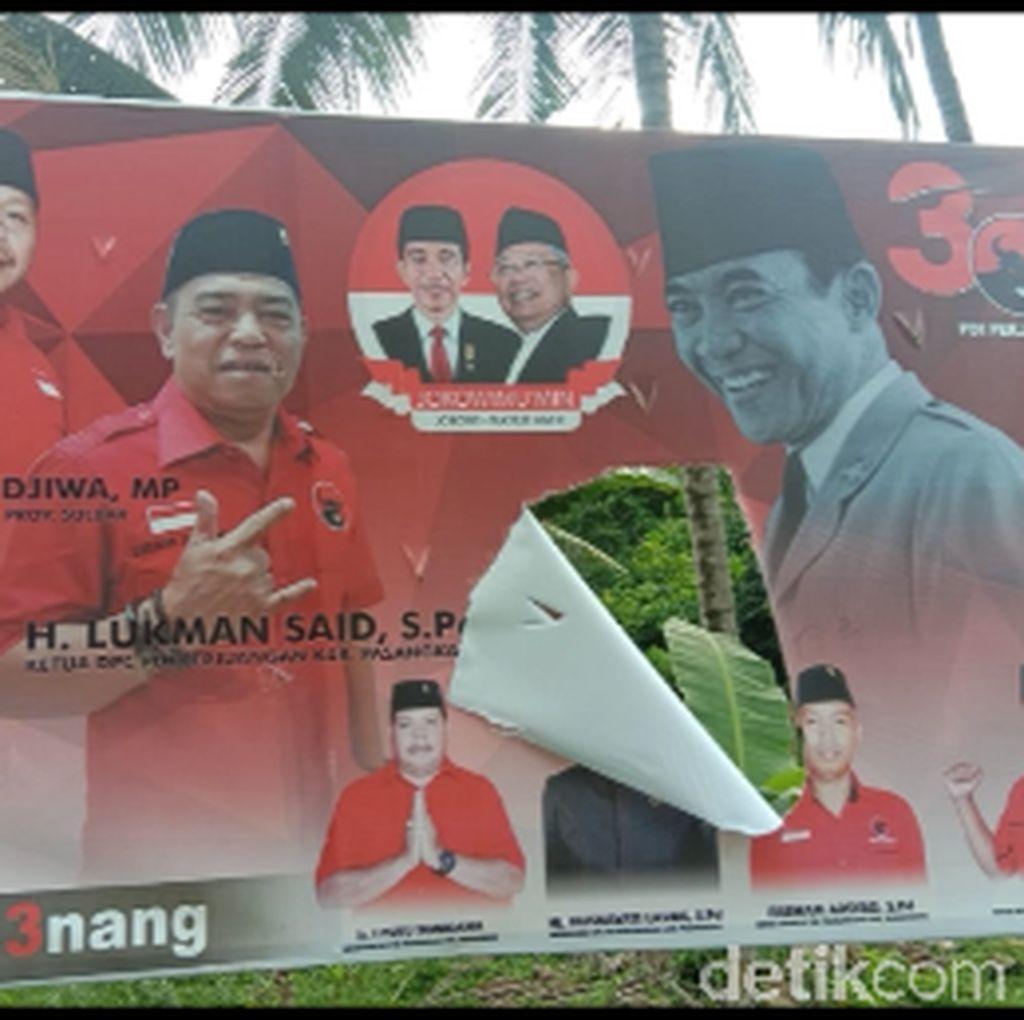 Baliho PDIP dan Jokowi di Sulbar Dirusak, Pelaku Masih Misterius