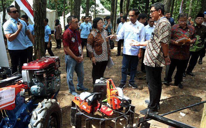 Jokowi bersama Menteri Kehutanan & Lingkungan Hidup Siti Nurbaya melihat bantuan CSR yang diberikan oleh BNI BNI kepada petani penggarap lahan hutan dalam program Perhutanan Sosial di Taman Hutan Pinus Kenali, Jambi Minggu (16/12). Pool/BNI.