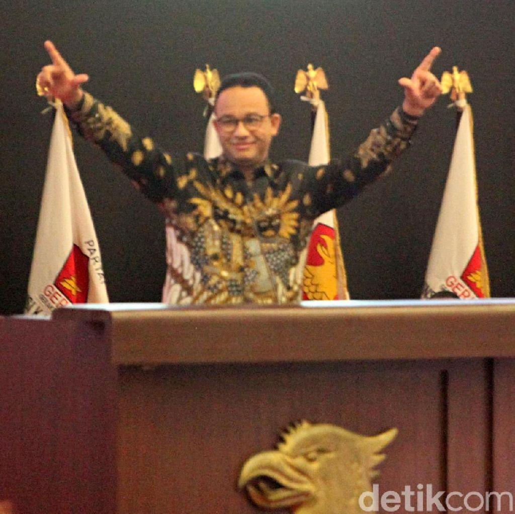 GNR: Salam 2 Jari di Konfernas Gerindra, Anies Baswedan Langgar UU Pemilu
