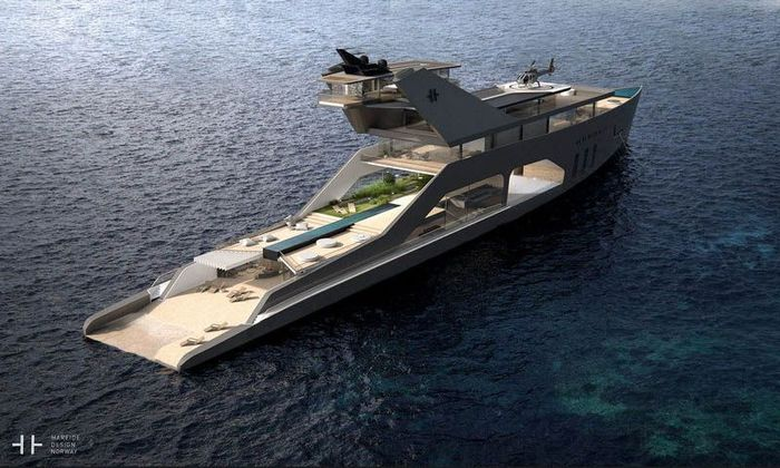Desainer asal Norwegia, Hareide Design, membuka desain terbarunya yaitu kapal mewah yang punya pantai pribadi. Istimewa/Dok. Mansionglobal.