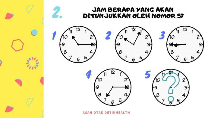 Coba asah otak kamu, pada nomor 5 nanti jam akan menunjukkan pukul berapa ya? (Foto: detikHealth)