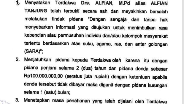 Kronologi Alfian Tanjung Kembali Dihukum 2 Tahun Penjara