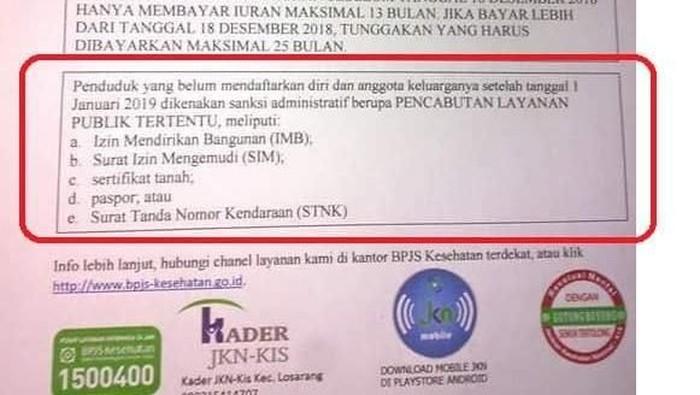 Nunggak bayar BPJS, nggak bisa urus SIM-STNK? (Foto: viral)