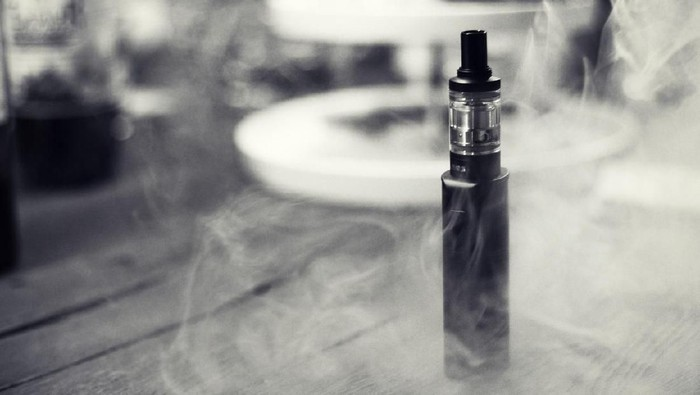 Close-Up of an Electronic Cigarette/E-Cigarette in smoke