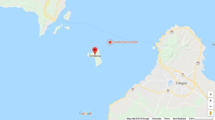 Pulau Sangiang di Selat Sunda (Google Maps)